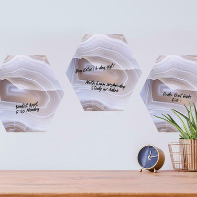 Geode Dry Erase Hexagon Peel and Stick Wall Decals roomset