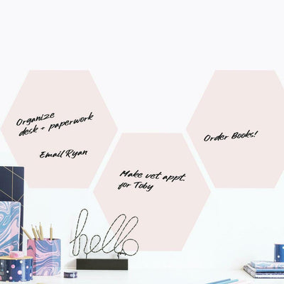 Blush Beauty Dry Erase Hexagon Peel and Stick Wall Decals roomset