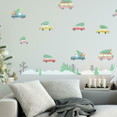 Retro Christmas Cars Peel and Stick Wall Decals roomset