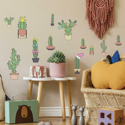 Christmas Cacti Peel and Stick Wall Decals roomset