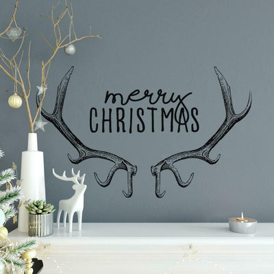 Merry Christmas Reindeer Antlers Peel and Stick Wall Decals roomset