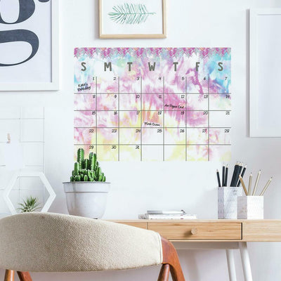 Tie Dye Dry Erase Calendar Peel and Stick Giant Wall Decal roomset