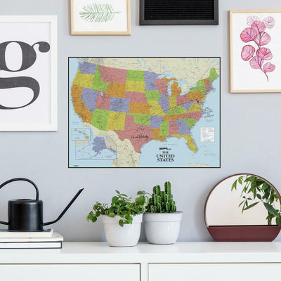 Dry Erase US Map Peel and Stick Giant Wall Decal roomset