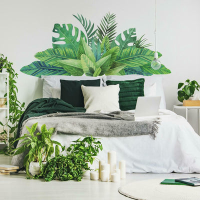 Watercolor Tropical Leaves Peel and Stick Giant Wall Decals roomset