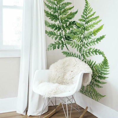 Watercolor Fern Peel and Stick Giant Wall Decals roomset