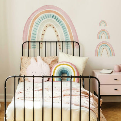 Watercolor Rainbow Peel and Stick Giant Wall Decal roomset
