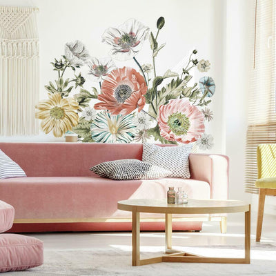 Vintage Poppy Floral Peel and Stick Giant Wall Decals roomset