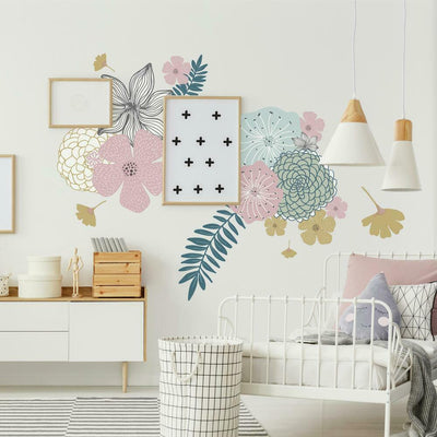 Perennial Blooms Peel and Stick Giant Wall Decals roomset