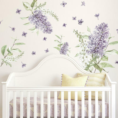 Lilac Peel and Stick Giant Wall Decals roomset