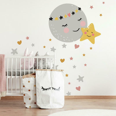 Moon and Star Peel and Stick Giant Wall Decals roomset