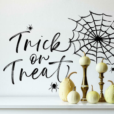 Halloween Trick Or Treat Spider Web Peel and Stick Giant Wall Decals roomset