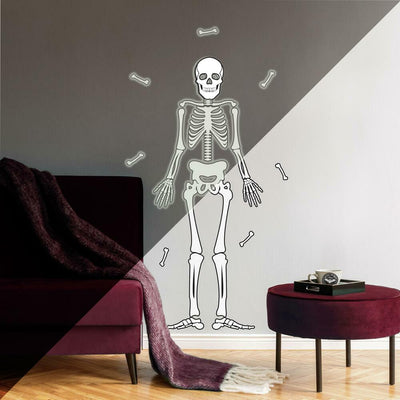 Skeleton Glow in the Dark Peel and Stick Giant Wall Decals roomset
