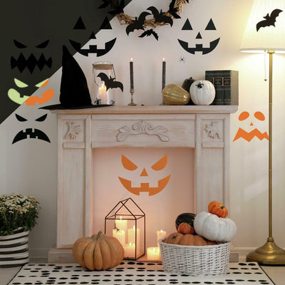 Halloween Pumpkin Faces Glow in the Dark Peel and Stick Wall Decals roomset
