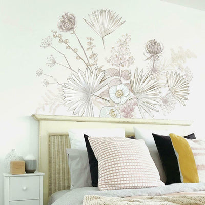Desert Sun Palm Leaf and Floral Peel and Stick Giant Wall Decals roomset