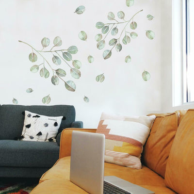 Catcoq Eucalyptus Peel and Stick Giant Wall Decals roomset