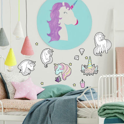 Color Your Own Unicorn Peel and Stick Wall Decals roomset