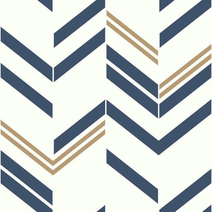 Chevron Stripe Peel and Stick Wallpaper blue