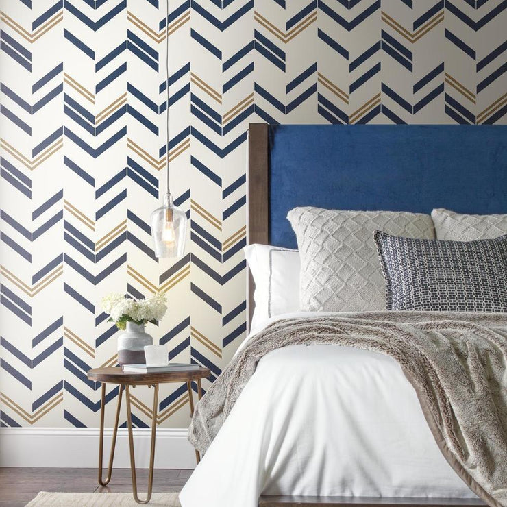 Chevron Stripe Peel and Stick Wallpaper blue roomset 2