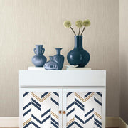 Chevron Stripe Peel and Stick Wallpaper blue roomset 3