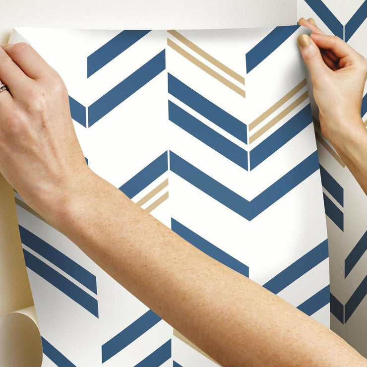Chevron Stripe Peel and Stick Wallpaper blue hang