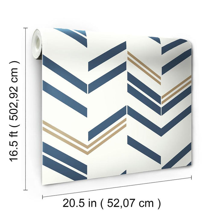 Chevron Stripe Peel and Stick Wallpaper blue roll