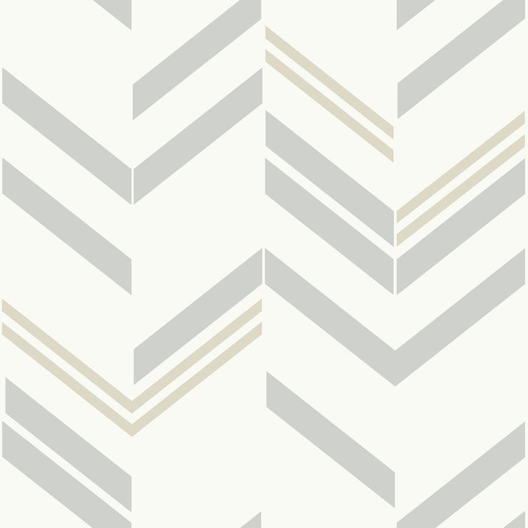 Chevron Stripe Peel and Stick Wallpaper gray