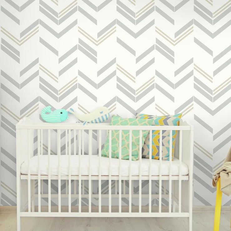 Chevron Stripe Peel and Stick Wallpaper gray roomset 2