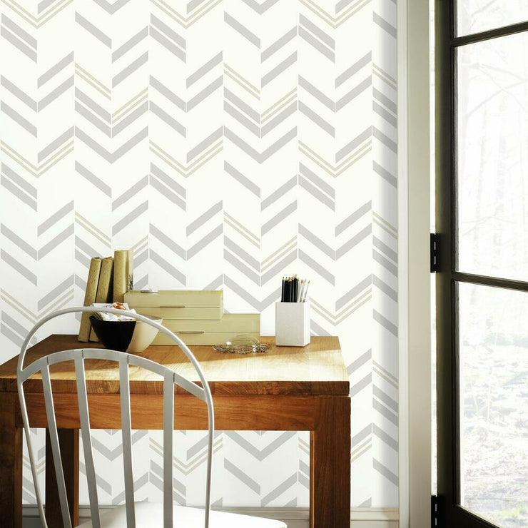Chevron Stripe Peel and Stick Wallpaper gray roomset