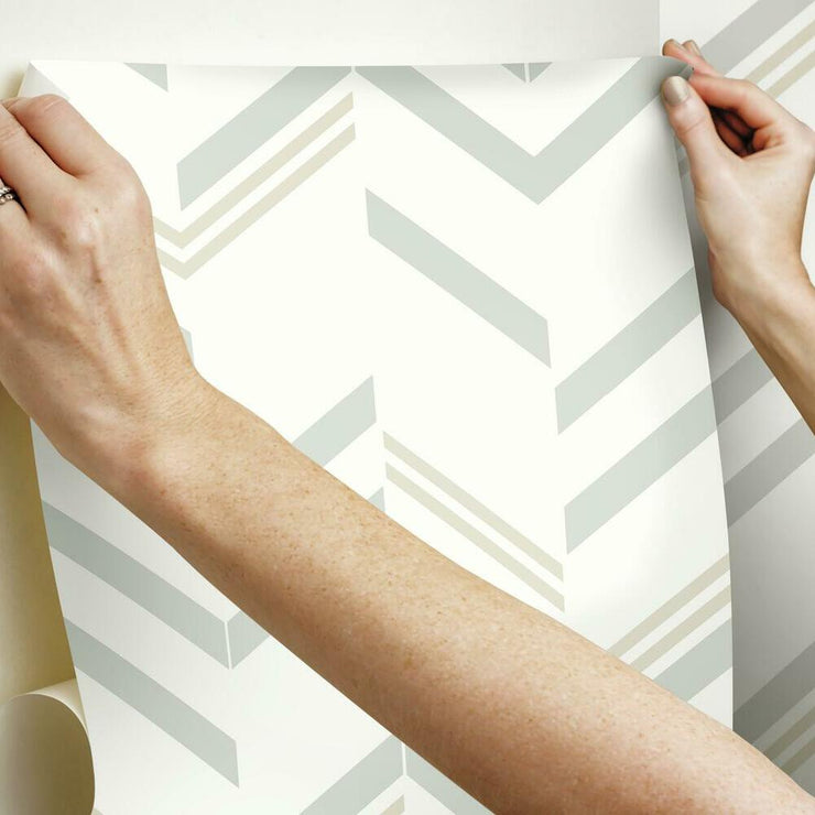 Chevron Stripe Peel and Stick Wallpaper gray hang