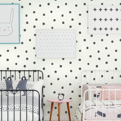 Black Dots Peel and Stick Wallpaper roomset
