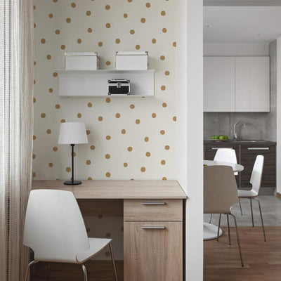 Large Gold Dot Peel and Stick Wallpaper roomset 2