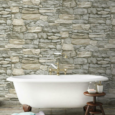 Stone Peel and Stick Wallpaper roomset