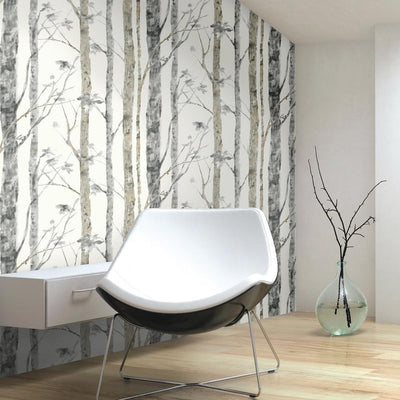 RMK9047WP Birch Tree Peel And Stick Wallpaper