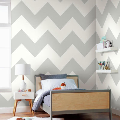 Large Chevron Peel and Stick Wallpaper roomset