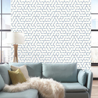 Open Geometric Peel and Stick Wallpaper blue roomset 3