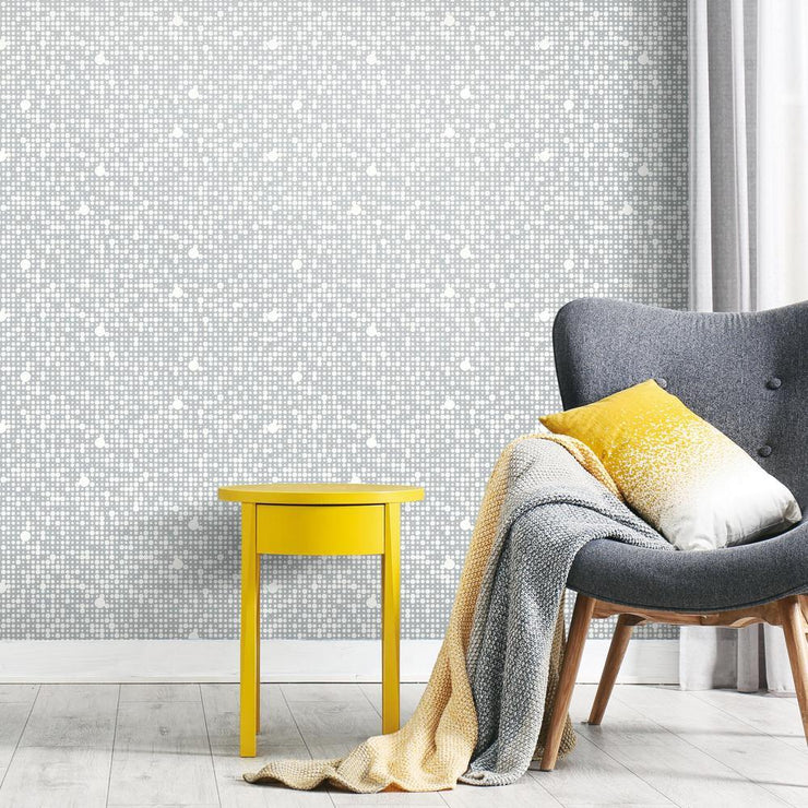 Polka Dot Peel and Stick Wallpaper gray roomset 2
