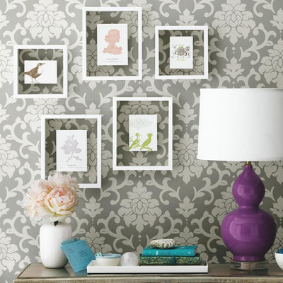 Damask Peel And Stick Wallpaper gray roomset