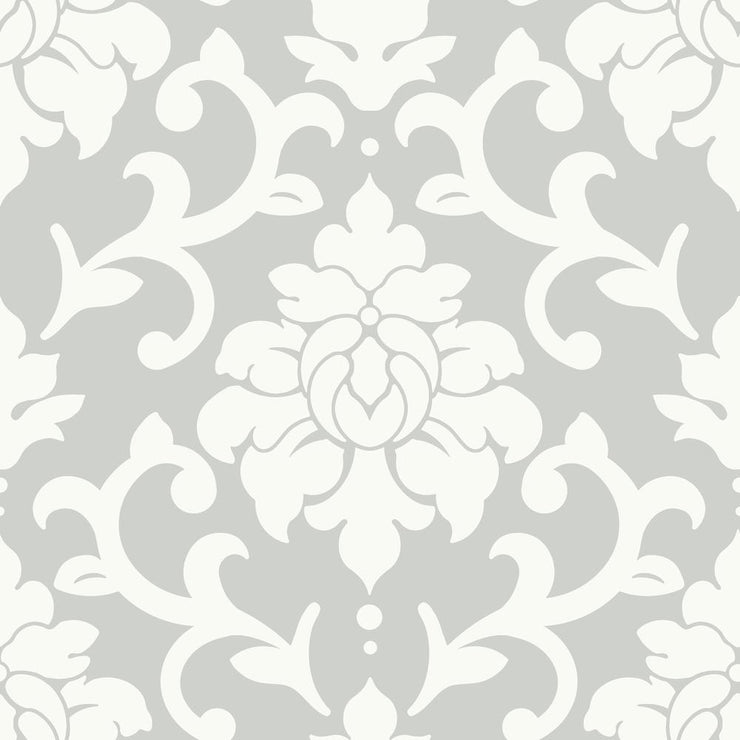 Damask Peel And Stick Wallpaper gray