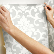 Damask Peel And Stick Wallpaper gray hang