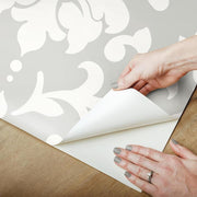 Damask Peel And Stick Wallpaper gray peel