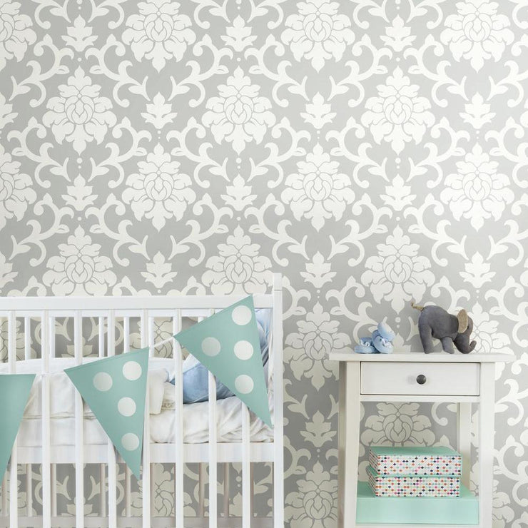 Damask Peel And Stick Wallpaper gray roomset 2