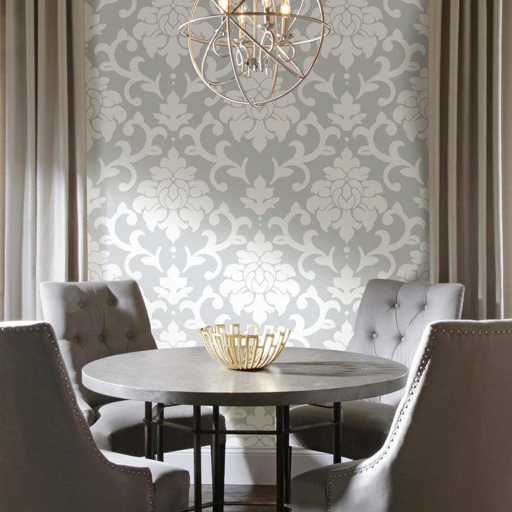Damask Peel And Stick Wallpaper gray roomset 3