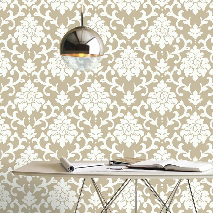 Damask Peel And Stick Wallpaper gold roomset 3