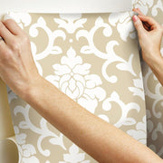 Damask Peel And Stick Wallpaper gold hang
