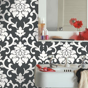 Damask Peel And Stick Wallpaper black roomset