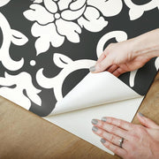 Damask Peel And Stick Wallpaper black peel