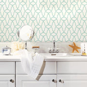 Trellis Peel and Stick Wallpaper blue roomset 2