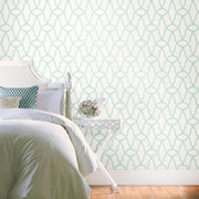 Trellis Peel and Stick Wallpaper blue roomset 3