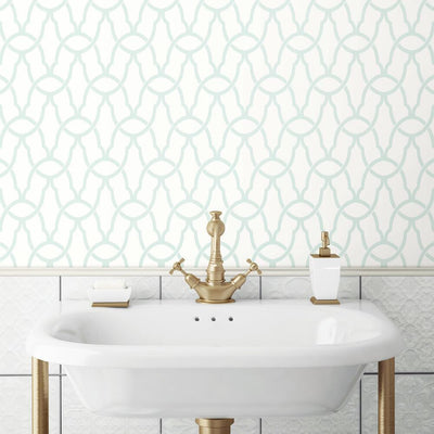 Trellis Peel and Stick Wallpaper blue roomset