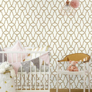 Trellis Peel and Stick Wallpaper gold roomset 2